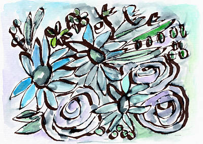 Beach Glass Flowers 2- Art By Linda Woods Poster