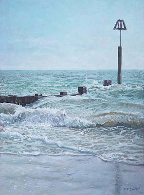 Poster featuring the painting Beach Groin With Autumn Waves by Martin Davey