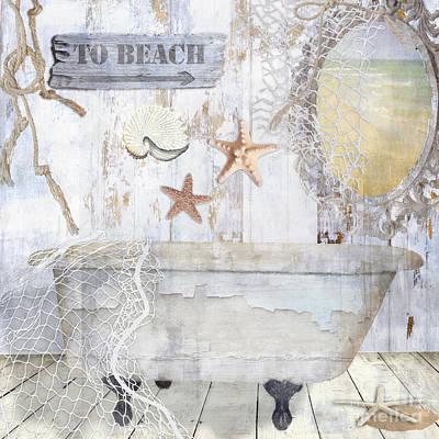 Beach House Bath Poster