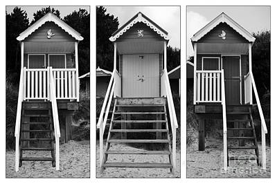 Beach Hut Triptych Poster by John Edwards