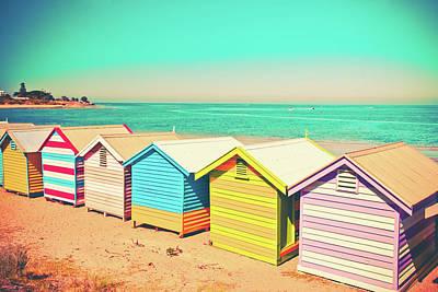 Beach Huts Of Brighton Poster by Az Jackson