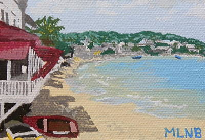 Beach In Grand Case Poster by Margaret Brooks