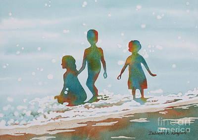 Beach Kids 2 Poster by Deborah Ronglien