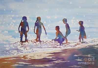 Beach Kids Poster by Deborah Ronglien