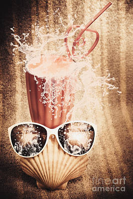Beach Milkshake With A Strawberry Splash Poster by Jorgo Photography - Wall Art Gallery