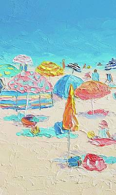 Beach Painting - A Crowded Beach Poster