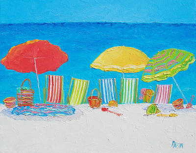 Beach Painting - Deck Chairs Poster by Jan Matson