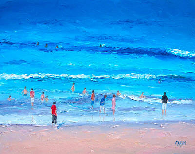 Beach Painting - Last Swim Of The Day Poster by Jan Matson