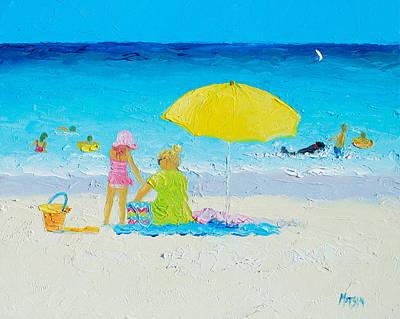 Beach Painting - Yellow Umbrella Poster