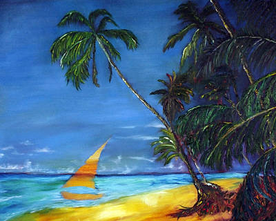Beach Palm Sailboat Poster