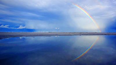 Beach Rainbow Reflection Poster