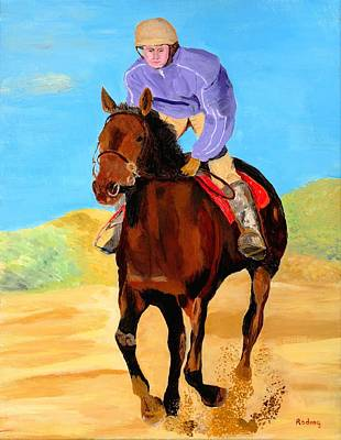 Poster featuring the painting Beach Rider by Rodney Campbell