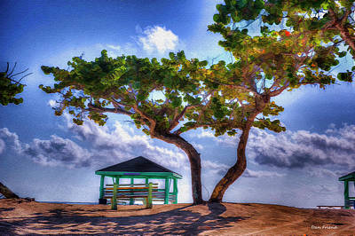 Beach Scene With Tree Poster
