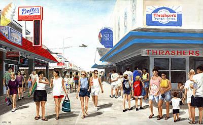 Beach/shore I Boardwalk Ocean City Md - Original Fine Art Painting Poster