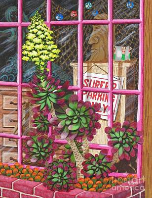 Poster featuring the painting Beach Side Storefront Window by Katherine Young-Beck