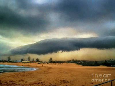 Poster featuring the photograph Beach Storm At Sunset By Kaye Menner by Kaye Menner