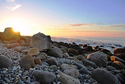 Beach Sunrise Over Rocks Poster