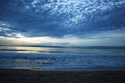 Beach Sunset - Blue Clouds Poster