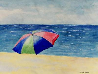 Poster featuring the painting Beach Umbrella by Jamie Frier