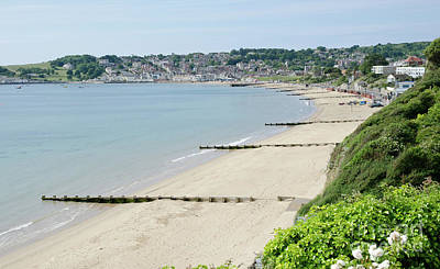 Beach View Swanage Bay Sandy Beach Jurassic Coast Dorset England Uk Poster by Andy Smy