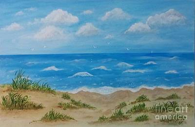 Poster featuring the painting Beach Waves by Sonya Nancy Capling-Bacle