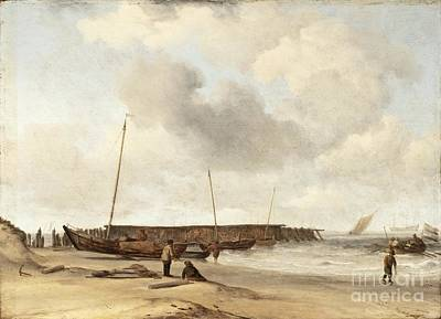 Beach With A Weyschuit Pulled Up On Shore Poster