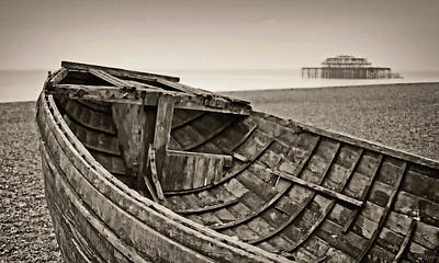 Beached At Brighton In Sepia Poster