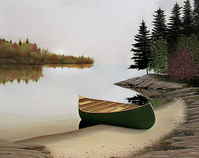 Beached Canoe In Muskoka Poster