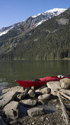 Beached Kayak In Alaska Poster