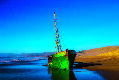Beached Old Green Fishing Boat Poster by Garry Gay