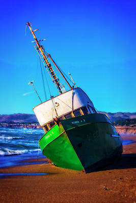 Beached Verna Fishing Boat Poster by Garry Gay