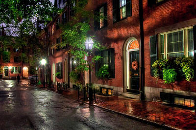 Beacon Hill Street Reflections - Boston Poster