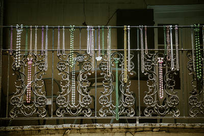 Beads On Wrought Iron Rail Poster by Garry Gay