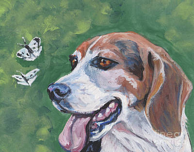 Poster featuring the painting Beagle And Butterflies by Lee Ann Shepard