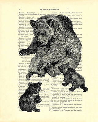 Bear And Cubs Black And White Antique Illustration Poster