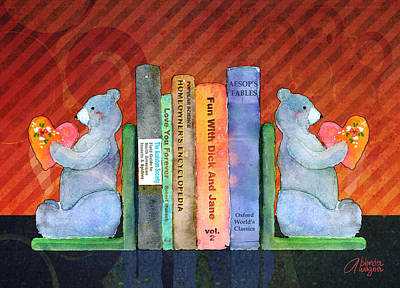 Bear Bookends Poster by Arline Wagner