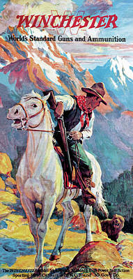 Poster featuring the painting Bear Confronting Cowboy by Frank Stick