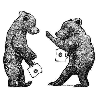 Bear Cubs With Mugs Poster