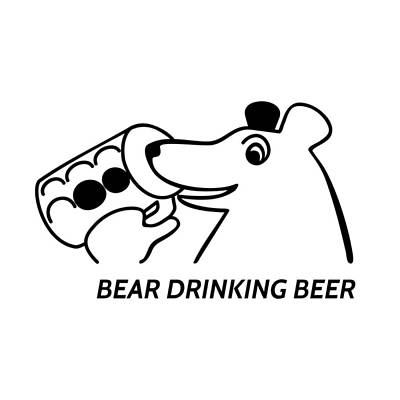 Bear Drinking Beer Poster