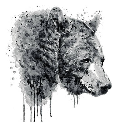 Bear Head Black And White Poster by Marian Voicu