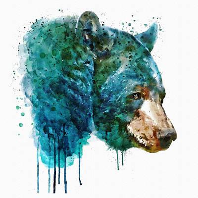 Bear Head Poster by Marian Voicu