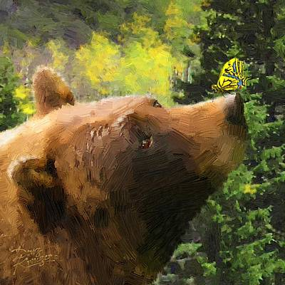 Poster featuring the painting Bear - N - Butterfly Effect by Doug Kreuger