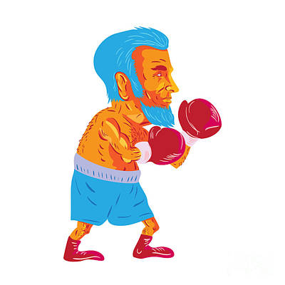 Bearded Boxer Boxing Cartoon Wpa Poster