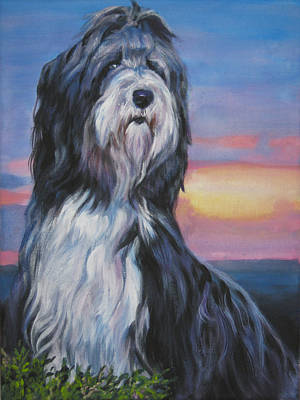 Bearded Collie Sunset Poster by Lee Ann Shepard
