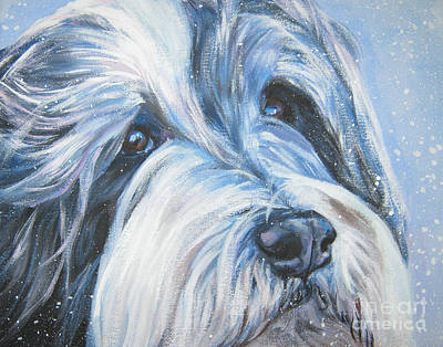 Bearded Collie Up Close In Snow Poster