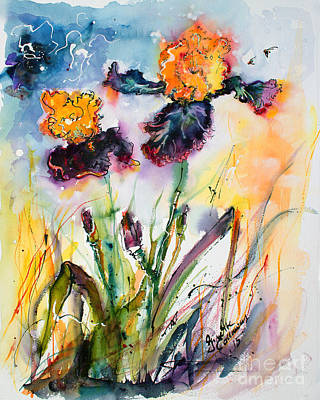 Bearded Irises Watercolor By Ginette Poster