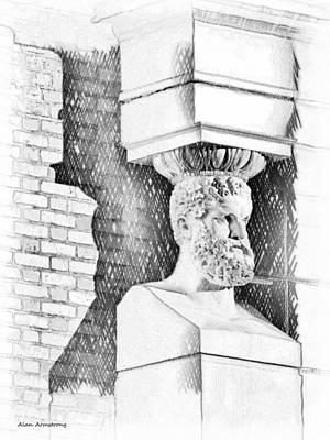 Bearded Man Sculpture Worthing Uk Poster