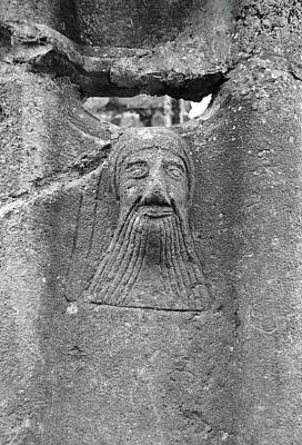 Bearded Monk Stone Carving Cloister Colums At Jerpoint Abbey County Kilkenny Ireland Black And White Poster by Shawn O'Brien