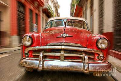 Beaten Red And White Old Cuban Auto In Havana, Cuba Poster