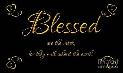 Poster featuring the digital art Beatitudes Blessed Are The Meek For They Will Inherit The Earth by Rose Santuci-Sofranko